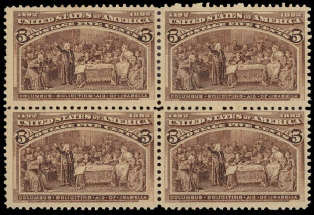 US Stamps Prices Scott # 234: 5c 1893 Columbian Exposition. Daniel Kelleher Auctions, May 2015, Sale 669, Lot 2726