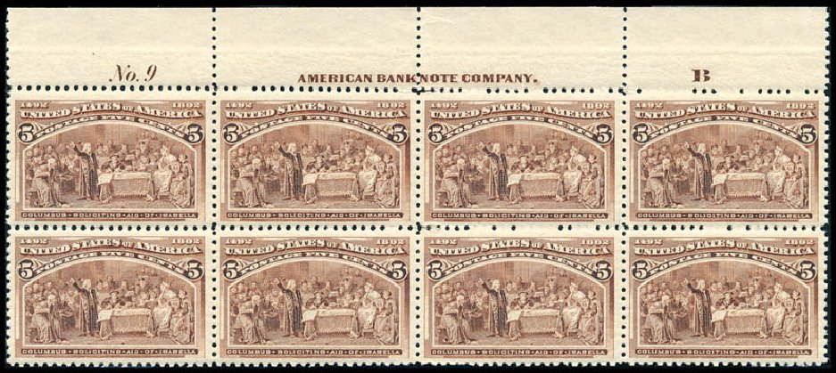 US Stamp Prices Scott Catalogue #234: 1893 5c Columbian Exposition. Schuyler J. Rumsey Philatelic Auctions, Apr 2015, Sale 60, Lot 2876