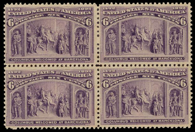 US Stamps Value Scott Cat. 235 - 6c 1893 Columbian Exposition. Daniel Kelleher Auctions, May 2015, Sale 669, Lot 2728
