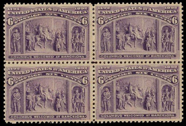 US Stamps Value Scott Cat. 235 - 6c 1893 Columbian Exposition. Daniel Kelleher Auctions, May 2015, Sale 669, Lot 2728