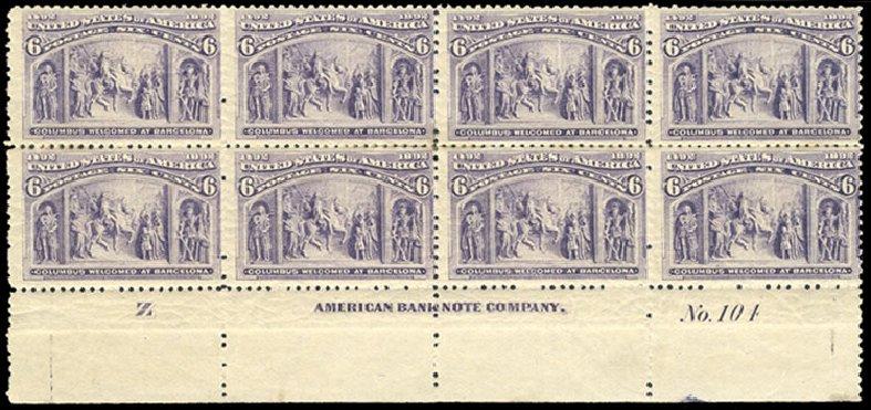 Costs of US Stamp Scott Catalog #235 - 1893 6c Columbian Exposition. Cherrystone Auctions, Jul 2015, Sale 201507, Lot 59