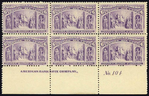 Prices of US Stamps Scott Cat. 235 - 1893 6c Columbian Exposition. Daniel Kelleher Auctions, May 2015, Sale 669, Lot 2729