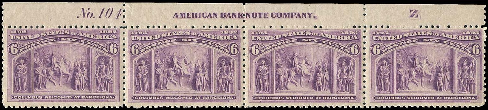 Value of US Stamp Scott Catalogue #235 - 1893 6c Columbian Exposition. Regency-Superior, Aug 2015, Sale 112, Lot 410