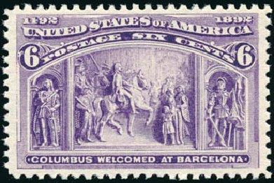 Cost of US Stamps Scott Cat. 235 - 1893 6c Columbian Exposition. Schuyler J. Rumsey Philatelic Auctions, Apr 2015, Sale 60, Lot 2212