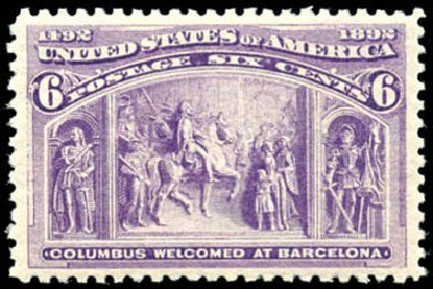 US Stamps Value Scott Catalogue # 235 - 6c 1893 Columbian Exposition. Schuyler J. Rumsey Philatelic Auctions, Apr 2015, Sale 60, Lot 2213