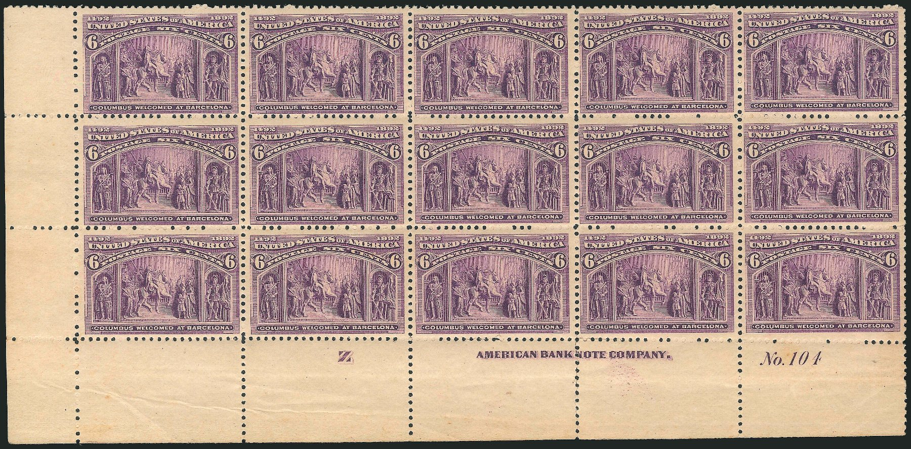 US Stamp Price Scott #235 - 1893 6c Columbian Exposition. Robert Siegel Auction Galleries, Jun 2015, Sale 1100, Lot 46