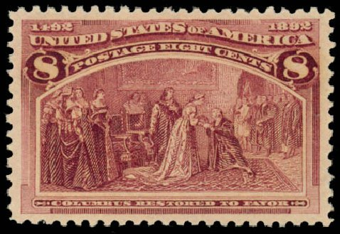 Costs of US Stamps Scott Catalogue #236: 1893 8c Columbian Exposition. Daniel Kelleher Auctions, Jan 2015, Sale 663, Lot 1457