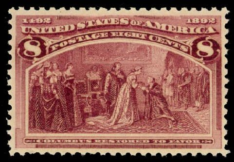 Values of US Stamps Scott Catalogue # 236: 8c 1893 Columbian Exposition. Daniel Kelleher Auctions, Oct 2014, Sale 660, Lot 2218