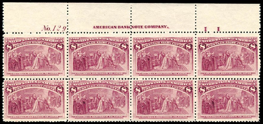 US Stamp Prices Scott Catalogue 236 - 1893 8c Columbian Exposition. Schuyler J. Rumsey Philatelic Auctions, Apr 2015, Sale 60, Lot 2878