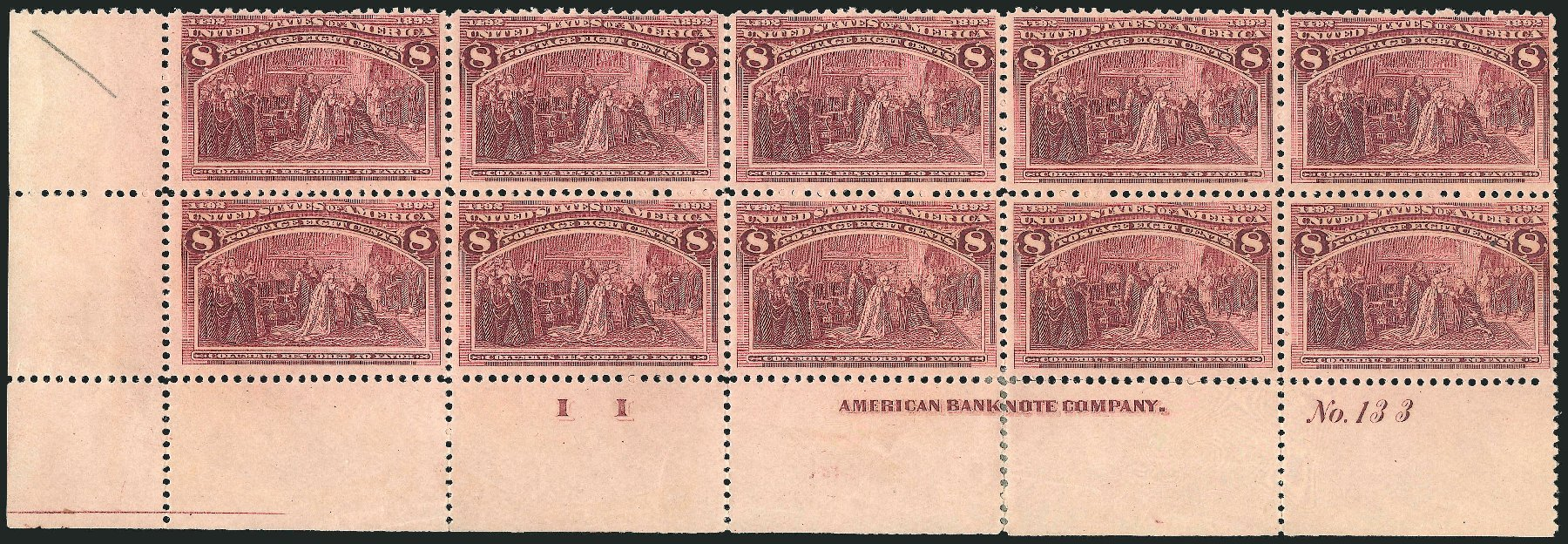 Cost of US Stamp Scott # 236 - 8c 1893 Columbian Exposition. Robert Siegel Auction Galleries, Nov 2014, Sale 1084, Lot 3538