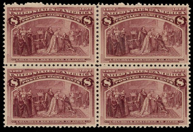 Costs of US Stamp Scott Catalog 236: 1893 8c Columbian Exposition. Daniel Kelleher Auctions, May 2015, Sale 669, Lot 2730