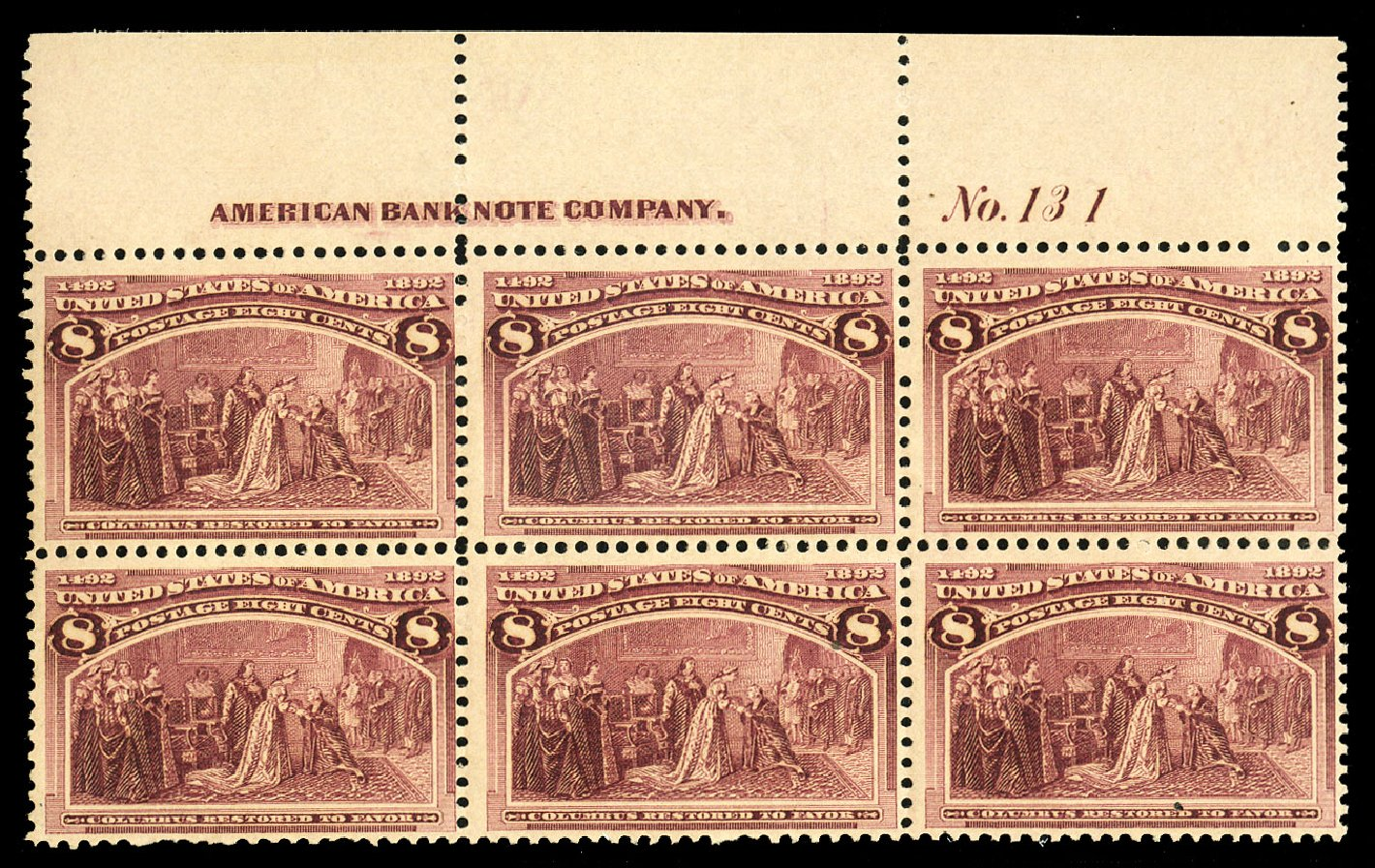 Cost of US Stamps Scott Cat. # 236 - 1893 8c Columbian Exposition. Cherrystone Auctions, Jul 2015, Sale 201507, Lot 2086