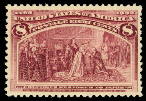 US Stamp Price Scott 236: 8c 1893 Columbian Exposition. Daniel Kelleher Auctions, Jan 2015, Sale 663, Lot 1456