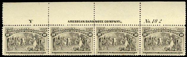Price of US Stamps Scott Catalogue 237: 1893 10c Columbian Exposition. Daniel Kelleher Auctions, Jan 2015, Sale 663, Lot 1459