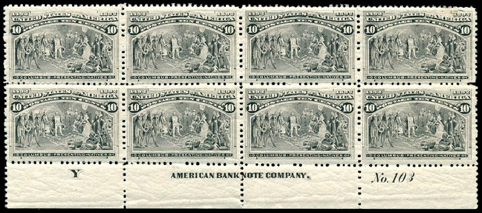 Price of US Stamps Scott Catalog 237: 10c 1893 Columbian Exposition. Schuyler J. Rumsey Philatelic Auctions, Apr 2015, Sale 60, Lot 2879