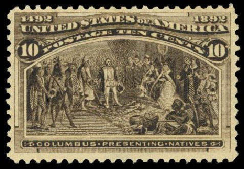 Value of US Stamp Scott Cat. #237 - 1893 10c Columbian Exposition. Daniel Kelleher Auctions, Dec 2014, Sale 661, Lot 201