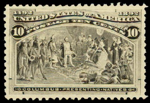 US Stamps Values Scott Cat. #237: 1893 10c Columbian Exposition. Daniel Kelleher Auctions, May 2015, Sale 669, Lot 2731