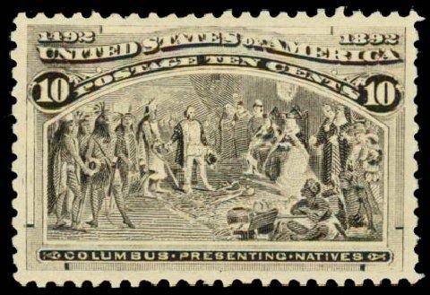 US Stamps Values Scott Cat. #237: 1893 10c Columbian Exposition. Daniel Kelleher Auctions, May 2015, Sale 669, Lot 2731