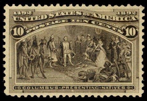 Cost of US Stamp Scott Catalogue #237 - 1893 10c Columbian Exposition. Daniel Kelleher Auctions, Aug 2015, Sale 672, Lot 2475