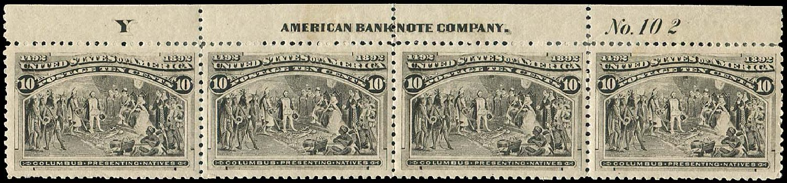Costs of US Stamps Scott Catalogue #237: 10c 1893 Columbian Exposition. Regency-Superior, Aug 2015, Sale 112, Lot 415