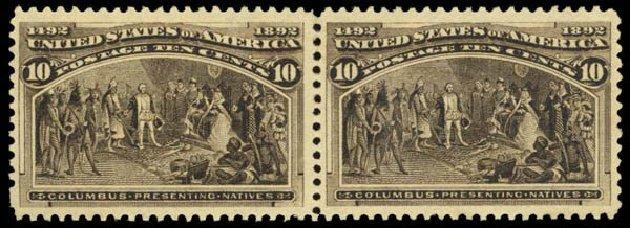 Values of US Stamp Scott Catalogue #237: 1893 10c Columbian Exposition. Daniel Kelleher Auctions, Dec 2014, Sale 661, Lot 202