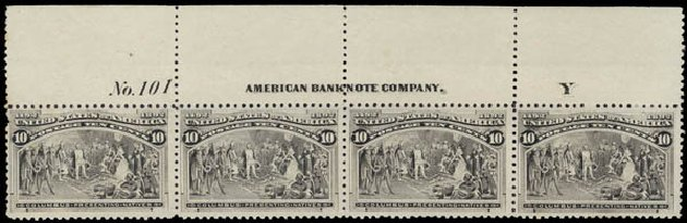 US Stamp Values Scott Catalogue #237 - 1893 10c Columbian Exposition. Daniel Kelleher Auctions, May 2015, Sale 669, Lot 2732