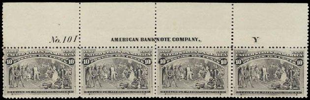 US Stamp Values Scott Catalogue #237 - 1893 10c Columbian Exposition. Daniel Kelleher Auctions, May 2015, Sale 669, Lot 2732
