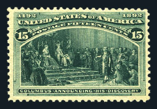 US Stamp Prices Scott Cat. # 238 - 1893 15c Columbian Exposition. Harmer-Schau Auction Galleries, Aug 2015, Sale 106, Lot 1629