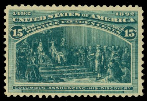 US Stamps Value Scott Catalog 238: 15c 1893 Columbian Exposition. Daniel Kelleher Auctions, Jan 2015, Sale 663, Lot 1460