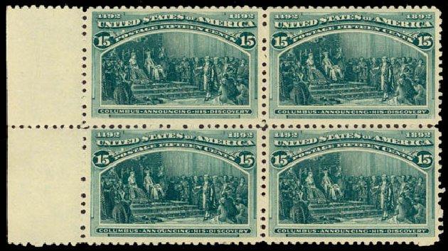 Value of US Stamps Scott 238 - 15c 1893 Columbian Exposition. Daniel Kelleher Auctions, Jan 2015, Sale 663, Lot 1461