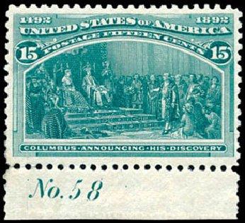 Price of US Stamps Scott Catalog 238 - 1893 15c Columbian Exposition. Schuyler J. Rumsey Philatelic Auctions, Apr 2015, Sale 60, Lot 2733