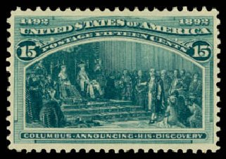 Costs of US Stamp Scott Catalogue 238 - 15c 1893 Columbian Exposition. Daniel Kelleher Auctions, Aug 2015, Sale 672, Lot 2476