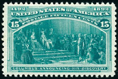 US Stamp Price Scott Cat. 238 - 1893 15c Columbian Exposition. Schuyler J. Rumsey Philatelic Auctions, Apr 2015, Sale 60, Lot 2216