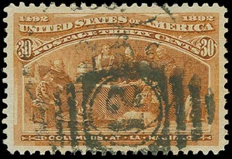 Value of US Stamp Scott Catalogue #239 - 30c 1893 Columbian Exposition. H.R. Harmer, Jun 2015, Sale 3007, Lot 3247