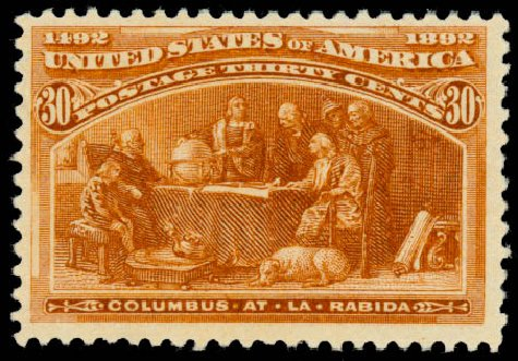 Price of US Stamp Scott Catalogue #239 - 1893 30c Columbian Exposition. Daniel Kelleher Auctions, Aug 2015, Sale 672, Lot 2478