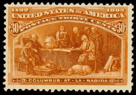 Price of US Stamp Scott Catalogue #239 - 1893 30c Columbian Exposition. Daniel Kelleher Auctions, Aug 2015, Sale 672, Lot 2478