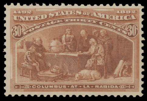Values of US Stamp Scott Catalogue #239: 30c 1893 Columbian Exposition. Daniel Kelleher Auctions, Aug 2015, Sale 672, Lot 2479
