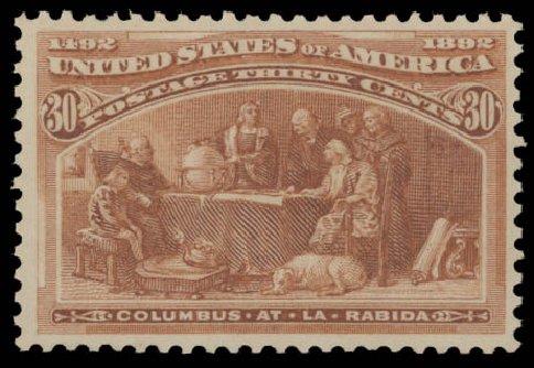 Values of US Stamp Scott Catalogue #239: 30c 1893 Columbian Exposition. Daniel Kelleher Auctions, Aug 2015, Sale 672, Lot 2479