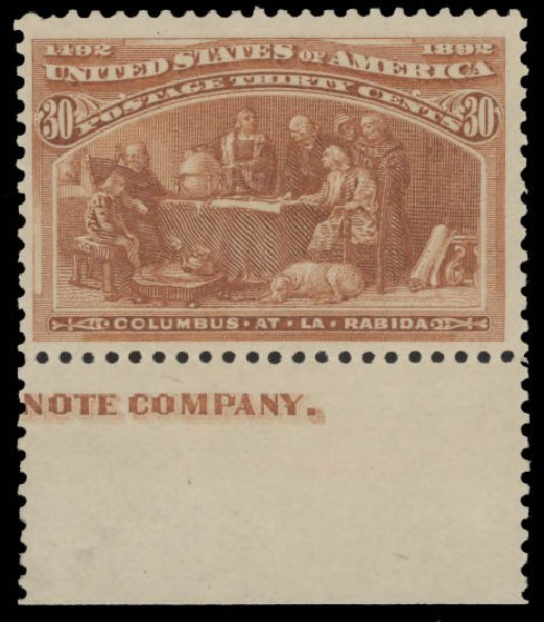 Costs of US Stamp Scott 239 - 1893 30c Columbian Exposition. Daniel Kelleher Auctions, Aug 2015, Sale 672, Lot 2480