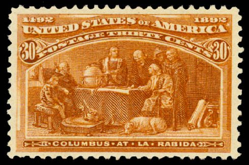 Values of US Stamps Scott Catalogue # 239 - 1893 30c Columbian Exposition. Daniel Kelleher Auctions, May 2015, Sale 669, Lot 2733