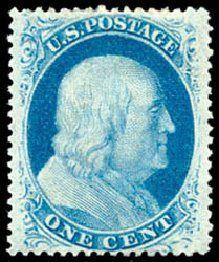 US Stamp Values Scott Cat. #24: 1c 1857 Franklin. Schuyler J. Rumsey Philatelic Auctions, Apr 2015, Sale 60, Lot 1967