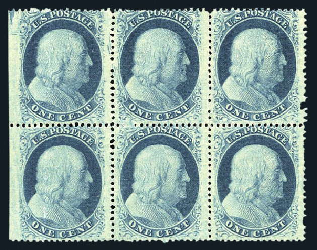 US Stamps Values Scott Cat. 24: 1857 1c Franklin. Harmer-Schau Auction Galleries, Aug 2015, Sale 106, Lot 1340