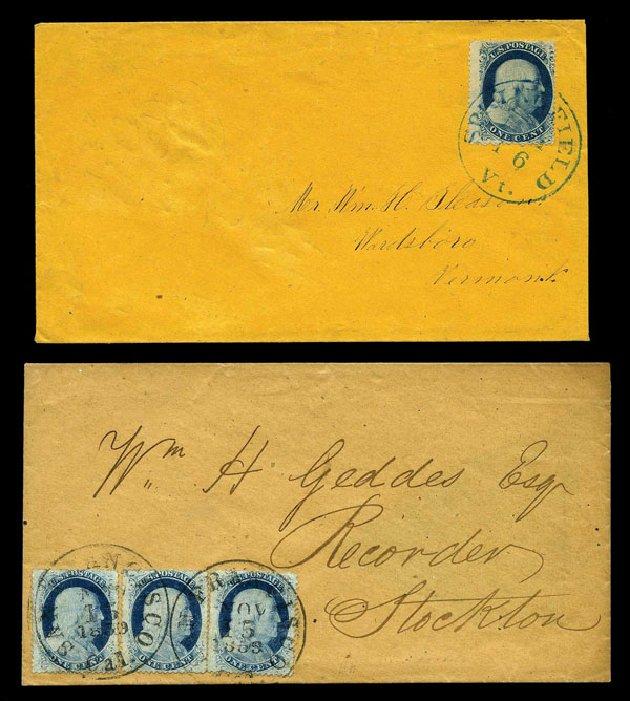 Values of US Stamp Scott Cat. # 24 - 1c 1857 Franklin. Harmer-Schau Auction Galleries, Aug 2015, Sale 106, Lot 1341