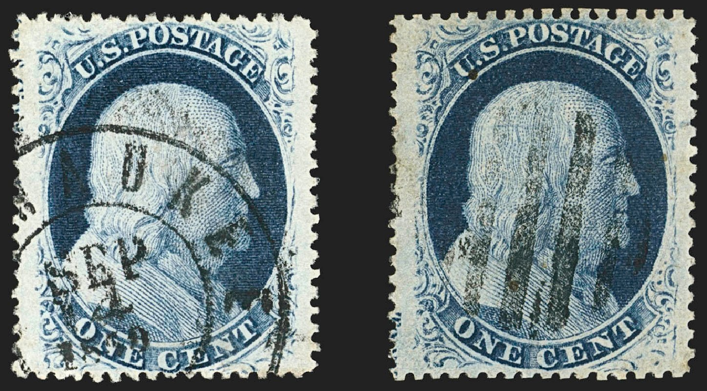 Value of US Stamp Scott Catalogue # 24 - 1c 1857 Franklin. Robert Siegel Auction Galleries, Jul 2015, Sale 1107, Lot 81