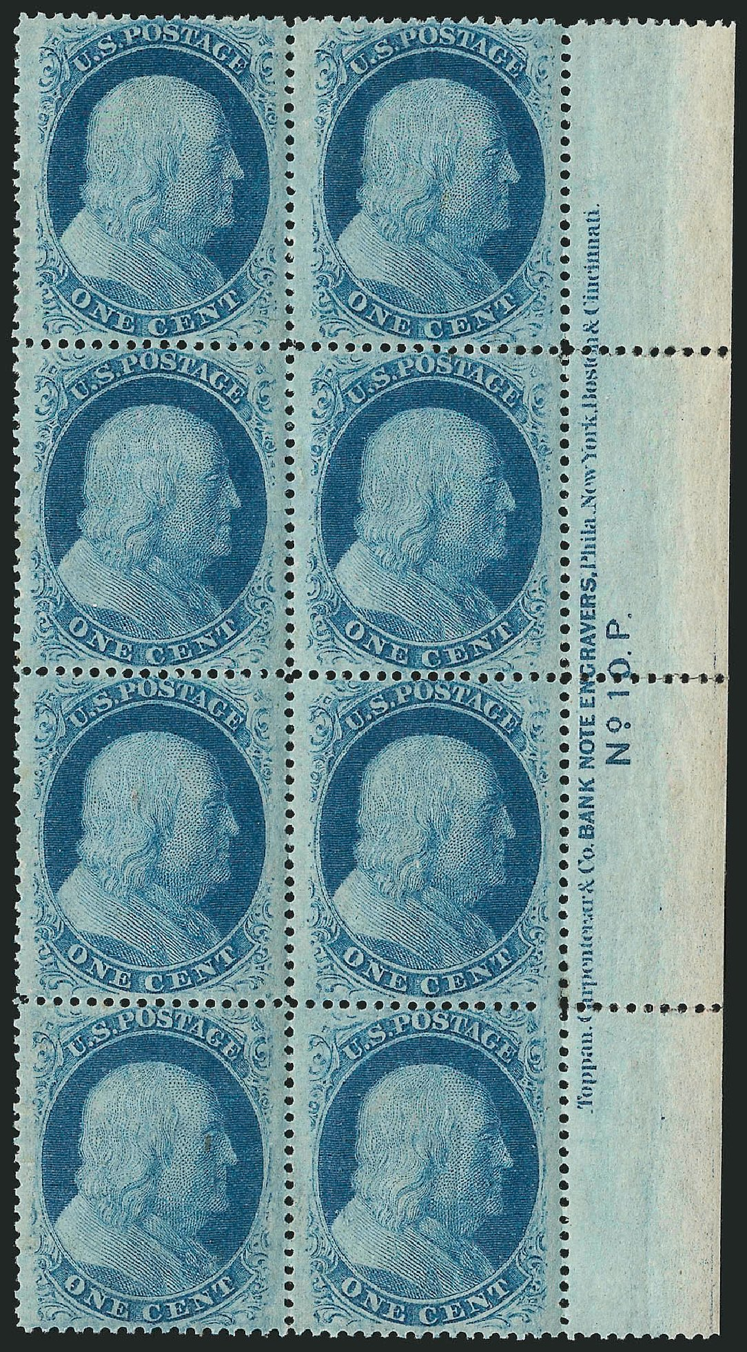 Costs of US Stamps Scott Cat. # 24: 1c 1857 Franklin. Robert Siegel Auction Galleries, Apr 2015, Sale 1096, Lot 55