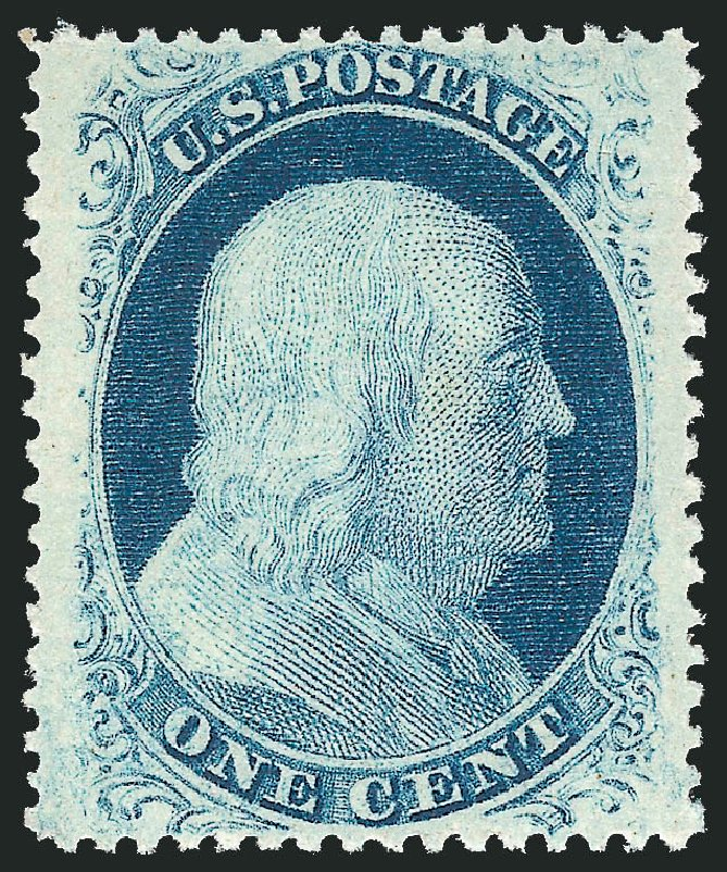 Values of US Stamps Scott Catalogue 24 - 1857 1c Franklin. Robert Siegel Auction Galleries, Feb 2015, Sale 1092, Lot 1026