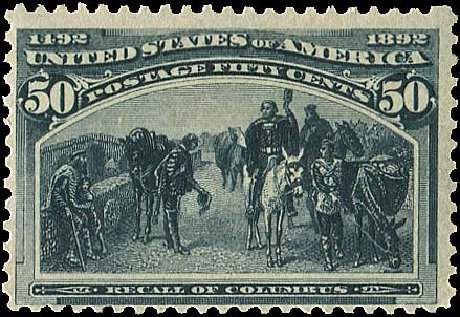 Values of US Stamp Scott Cat. #240: 1893 50c Columbian Exposition. Regency-Superior, Aug 2015, Sale 112, Lot 438