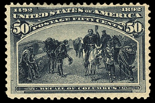 US Stamp Price Scott # 240 - 50c 1893 Columbian Exposition. Cherrystone Auctions, Jul 2015, Sale 201507, Lot 61