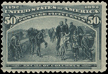 Value of US Stamp Scott Catalog # 240 - 50c 1893 Columbian Exposition. Regency-Superior, Aug 2015, Sale 112, Lot 441