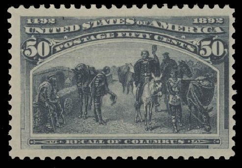 Costs of US Stamps Scott Catalogue #240 - 50c 1893 Columbian Exposition. Daniel Kelleher Auctions, Aug 2015, Sale 672, Lot 2484